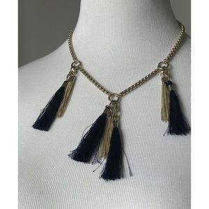 Ann Taylor Navy Tassel Necklace